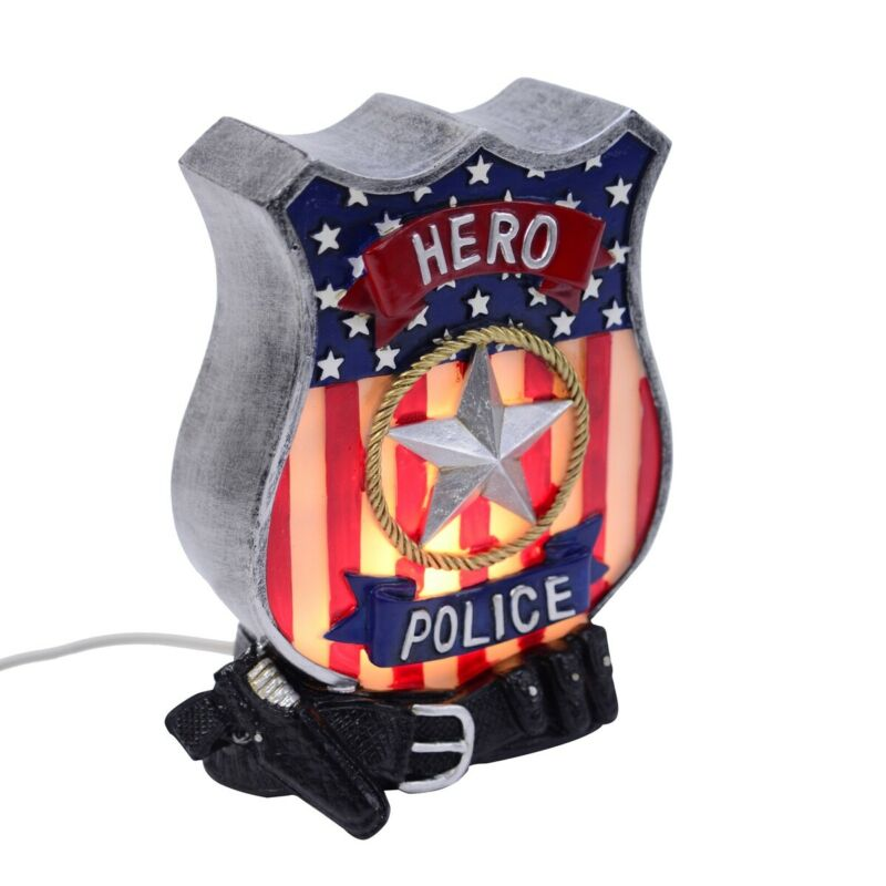 Police Officer Badge Desk Lamp Kids Bedroom Home Decor Hero Safety Night Light