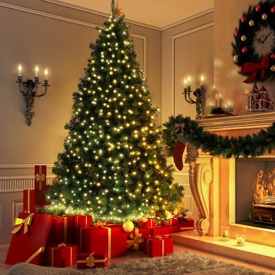 6FT Green Pines Artificial Christmas Tree Hanged With 200 LED Lights US Stock ()
