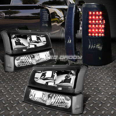 BLACK HEADLIGHT+CLEAR BUMPER+SMOKED LED TAIL LIGHT SET FOR 03-07 CHEVY