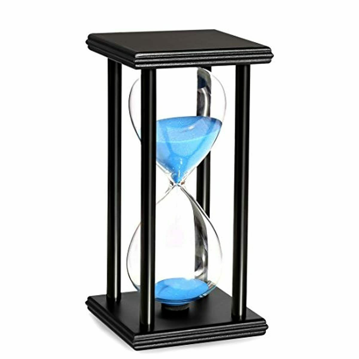 BOJIN 60 Minute Hourglass Blue Sand Timer Wooden Black Stand
