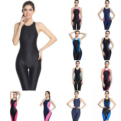 (Full Brief Knee Women One Piece Swimsuit Sport Competition Swimwear Racing Suit)