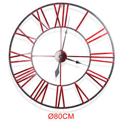 Antique 31.5 Extra Large Oversized 3D Roman Numerals Wall Clock Open Round Face