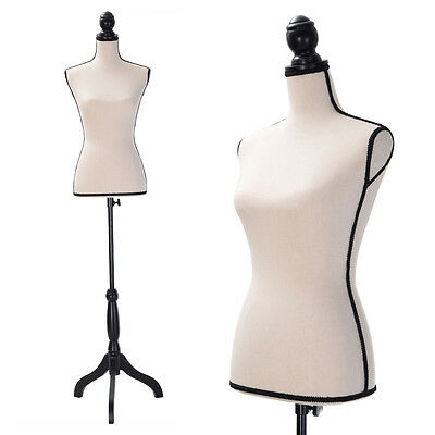 Beige Female Mannequin Torso Dress Form Clothing Display W Black Tripod Stand
