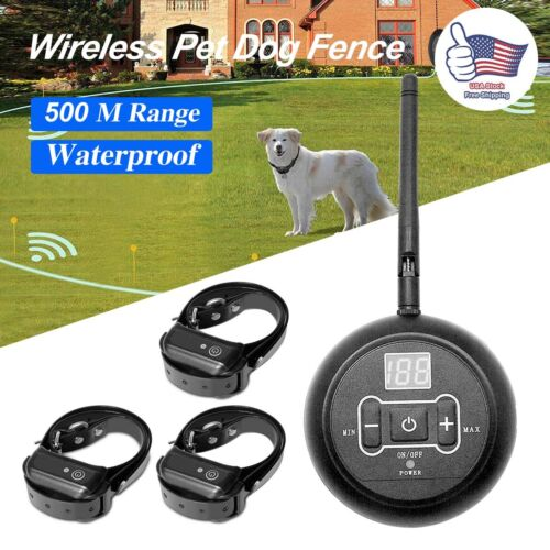Wireless Electric Dog Fence For 1/2/3 Dog Pet Containment Sy