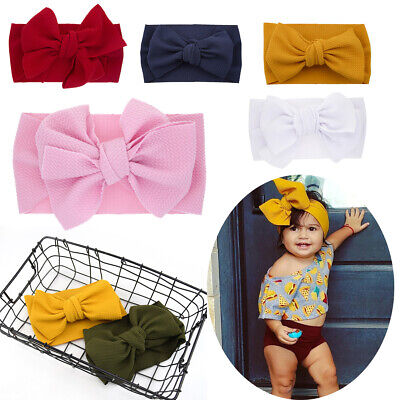 Newborn Kids Baby Girl Big Rabbit Bow Headband Hat Turban Knot Ribbon Elastic UK