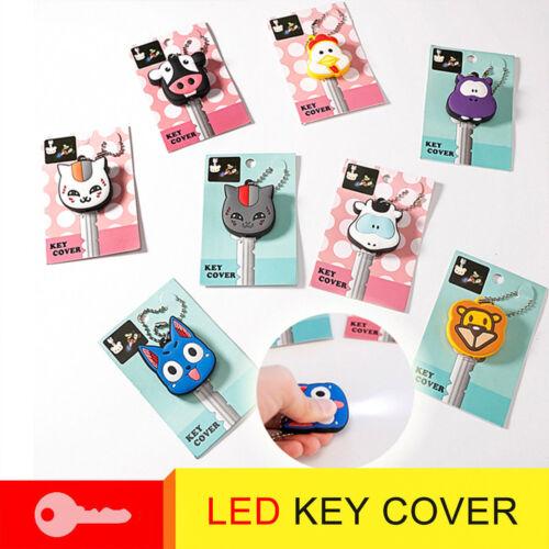 LED Light Silicone Mini Key Ring Cap Head Cover Keychain Case Shell Animal Shape