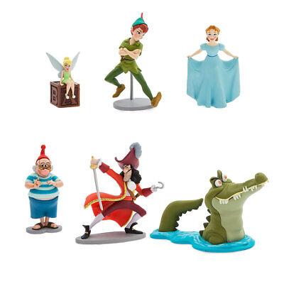 DisneyStore Peter Pan Tinkerbell Figure Playset Cake Toppers Set of 6 Figures  (Tinkerbell Cake Toppers)