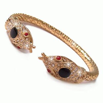Gold Schlange Armband (Armreif flexibel Schlange Armschmuck Snake Armband gold Damen Boho Schmuck A1537)