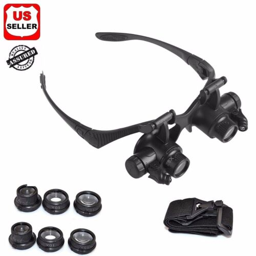 Double Eye Jewelry Watch Repair Magnifier Loupe Glasses With LED Light 8 Lens US Jewelry & Watches
