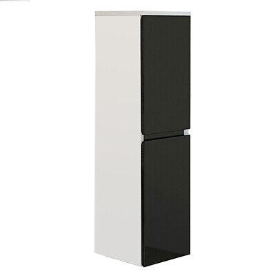 Mueble de baño AIGER columna de lavabo suspendida armario auxiliar brillo negro