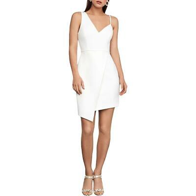 BCBG Max Azria Womens White Asymmetrical Sleeveless Cocktail Dress 0 BHFO 6576