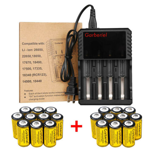 20x rechargeable 16340 li ion battery