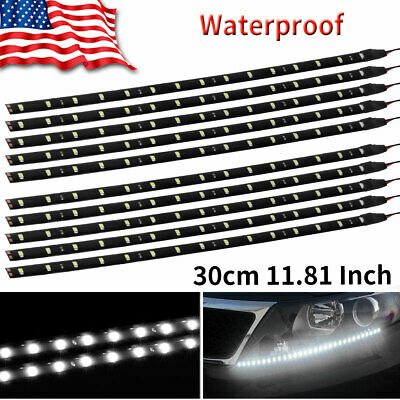 10X White 30CM/15 LED Truck Auto Motorcycle Trunk Bed Light Strip Waterproof 12V