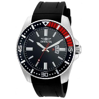Invicta 21445 Gent's Black Rubber Strap Black Dial Quartz Watch Invicta Rubber Bracelets