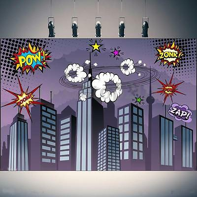 7x5FT Vinyl Superhero City Building Photography Studio Props Background - Superhero City Backdrop