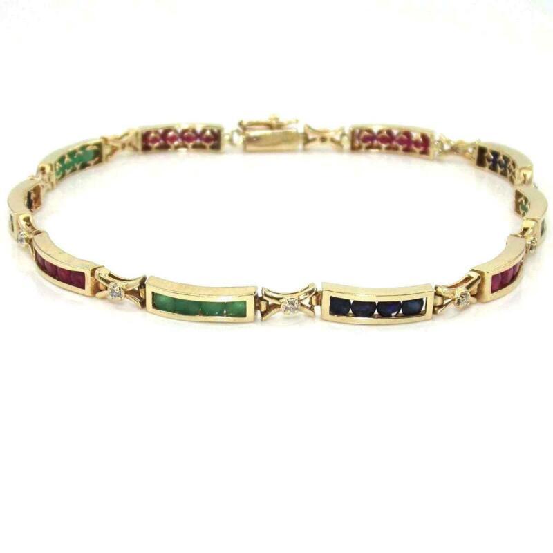 14k Yellow Gold Bracelet Natural Emerald Ruby Sapphire Diamond
