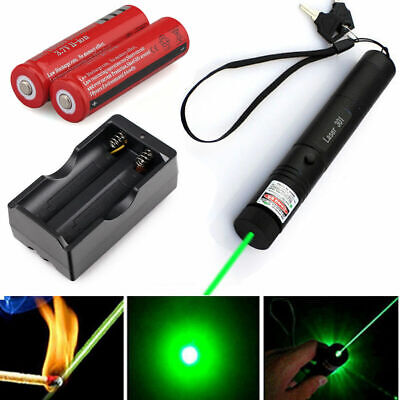 532nm 5mw Green Laser Pointer Lazer Pen Beam + 18650 battery + Dual Charger