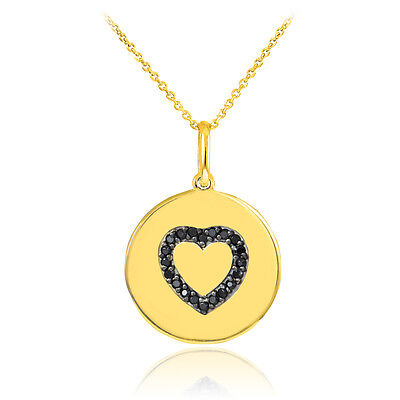 14k Yellow Gold Heart Studded with Black Diamonds Disc Pendant Necklace USA Made Diamond Studded Heart Necklace