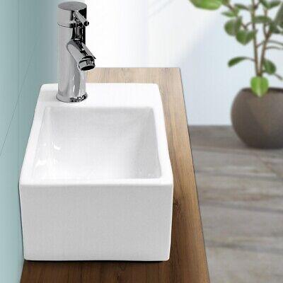 Lavabo cerámica cuadrado baño aseo lavamanos sobre encimera/suspendido 350x205mm