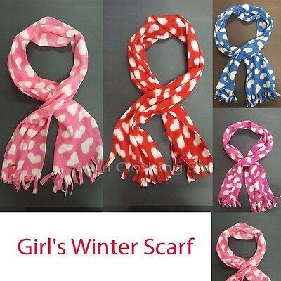 Girl  Kids Winter Warm Fleece Scarf  Heart Printed Super Soft faux Winter Long