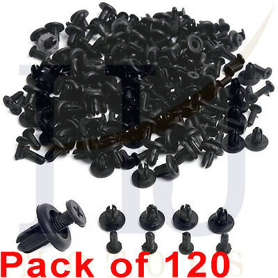 120 X 8mm Car Hole Plastic Rivets Fastener Fender Bumper Push Pin Clips Clip