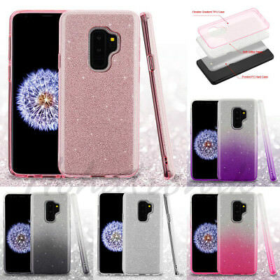 Samsung GALAXY S9 / Plus Hybrid Glitter Bling Rubber Protective Gel Case (Rubberized Bling)