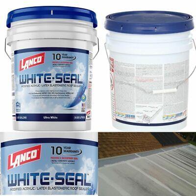 Elastomeric Roof Sealer 5 Gallon White Coating Waterproof Rubberized Cool Rv