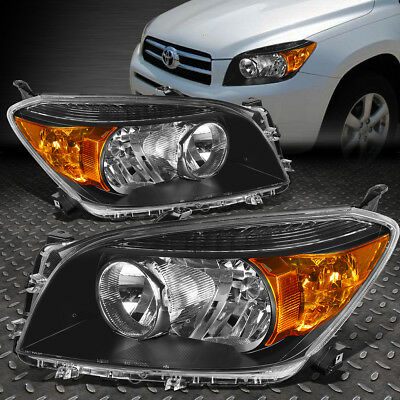 FOR 2006 2008 TOYOTA RAV4 PAIR BLACK HOUSING AMBER CORNER BUMPER HEADLIGHTLAMP