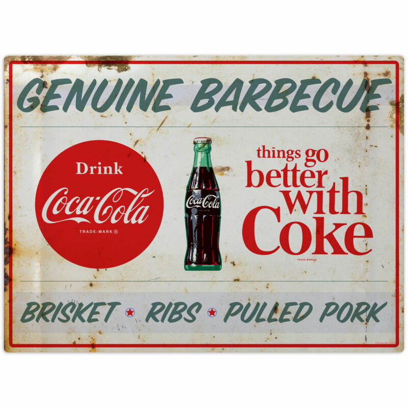 Coca-Cola Genuine Barbecue BBQ Food Wall Decal 24 x 18 Distressed