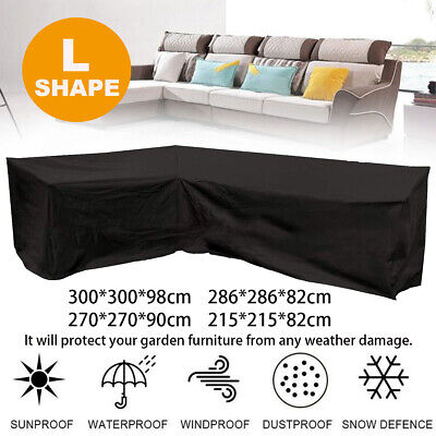 Garden Furniture - L Shape Outdoor Furniture Cover Waterproof Sofa Lounge Seat Couch Cover Garden