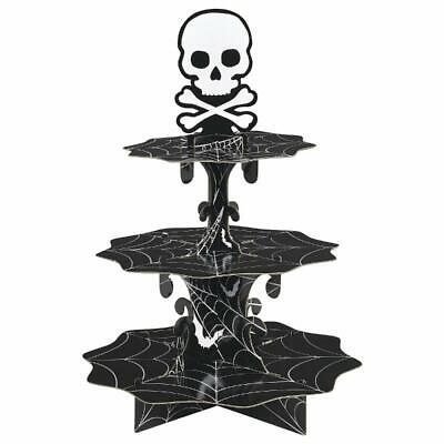 SKULL CUPCAKE TREAT STAND Halloween Party Decoration Food Table Decor Spider Web