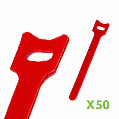 6 Inch Hook And Loop Reusable Strap Cable Cord Wire Ties 50 Pack Red