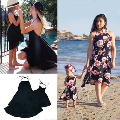 Mother And Daughter Matching Clothes Floral Mom Kids Parent Long Dress Outfits