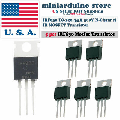 5pcs Irf830 Ir Power Mosfet N-channel 4.5a 500v Transistor