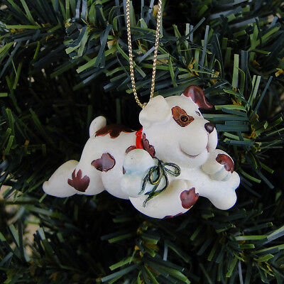 Russ Berrie Christmas Tree Ornament Dog Puppy w. Bone Wags to Whiskers Vintage