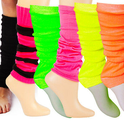 Neon Pink Leg Warmers (CLAIRES Womens Ankle Leg Warmers Black Pink Neon Thick Thin Dance Fancy)
