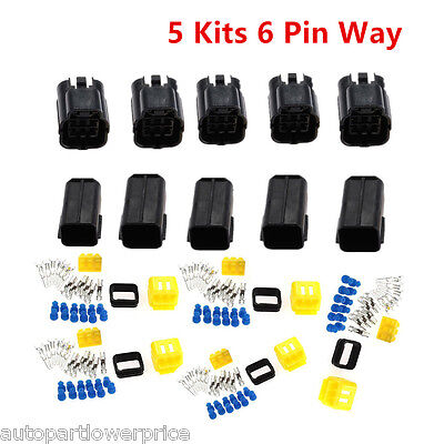 5 Kit 6 Pin Way Sealed Electrical Wire Connector Plug Terminal Set Waterproof