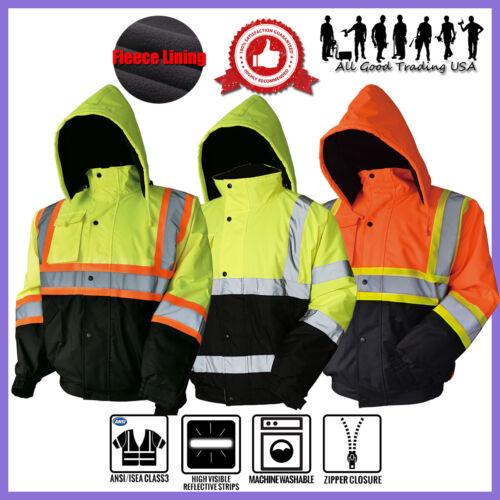 Hi-Vis Insulated Safety Bomber Reflective Jacket Coat Road Work Fleece Lining