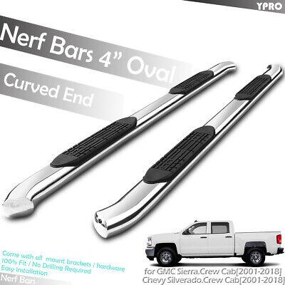 "2001-2018 GMC Sierra 1500 2500HD 3500HD Crew Cab 4"" Curved Side Step Nerf Bars"