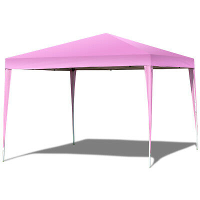 10'X10' EZ POP UP Canopy Tent Gazebo Party Shelter Wedding W/Bag Easy Carry Pink