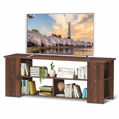 """TV Stand Entertainment Media Center Console Shelf Cabinet for TV's 50"""" Brown"""