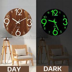 11.8'' Luminous Wall Clock Quartz Wooden Glow Dark Silent Home Room Decor Modern