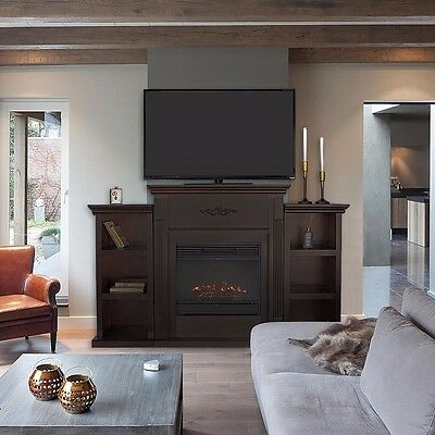 TV Stand Espresso Entertainment with Fireplace Open Shelves Elegant Organization