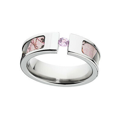 Womens Licensed Mossy Oak Pink Break Up Camo Ring, Tension Set Pink Sapphire