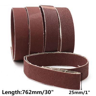 """5Pcs 1x30"""" Sanding Belts 80/100/150/240/320 Grit Aluminum Oxide Sander Abrasive"""