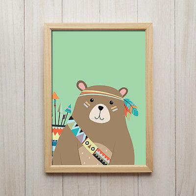 Bär Bild für Babyzimmer Junge - Tiere Kinderzimmer Deko Poster - Kunstdruck Grün