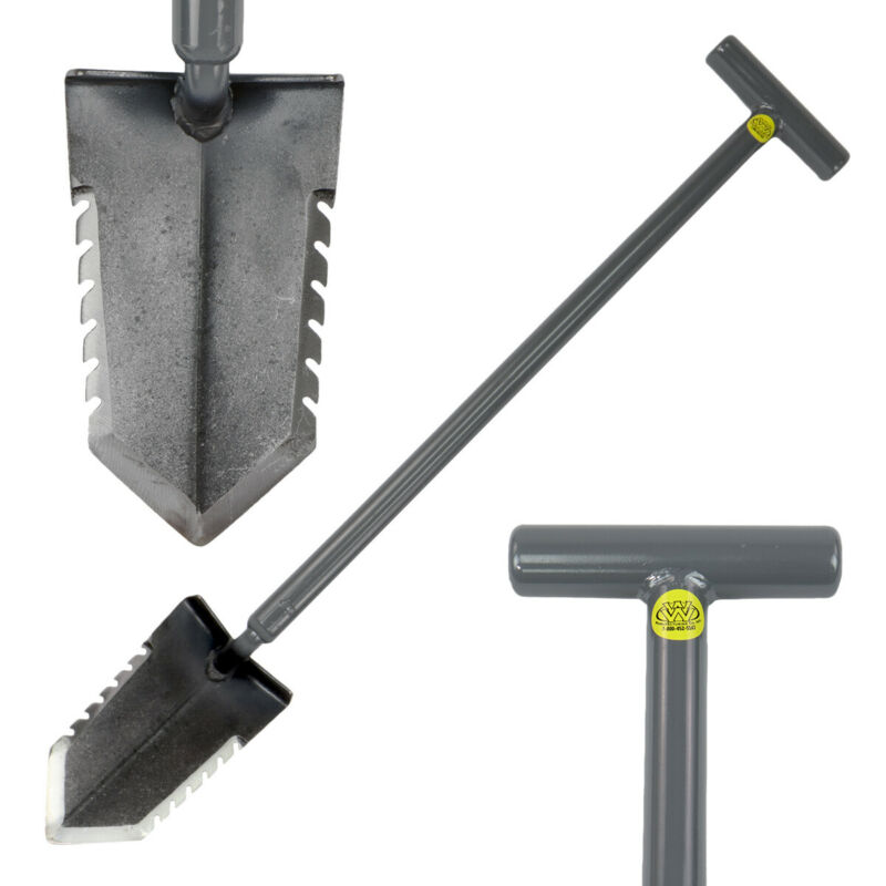 "Lesche T- Handle 31"" Heavy Duty Metal Detector Shovel Double Serrated Blade"