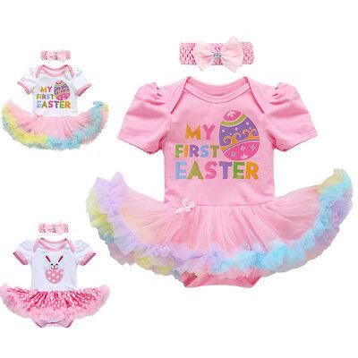 Neugeborenes Baby Mädchen Ostern Hase Strampler Kleid Stirnband Outfits Kleider ()
