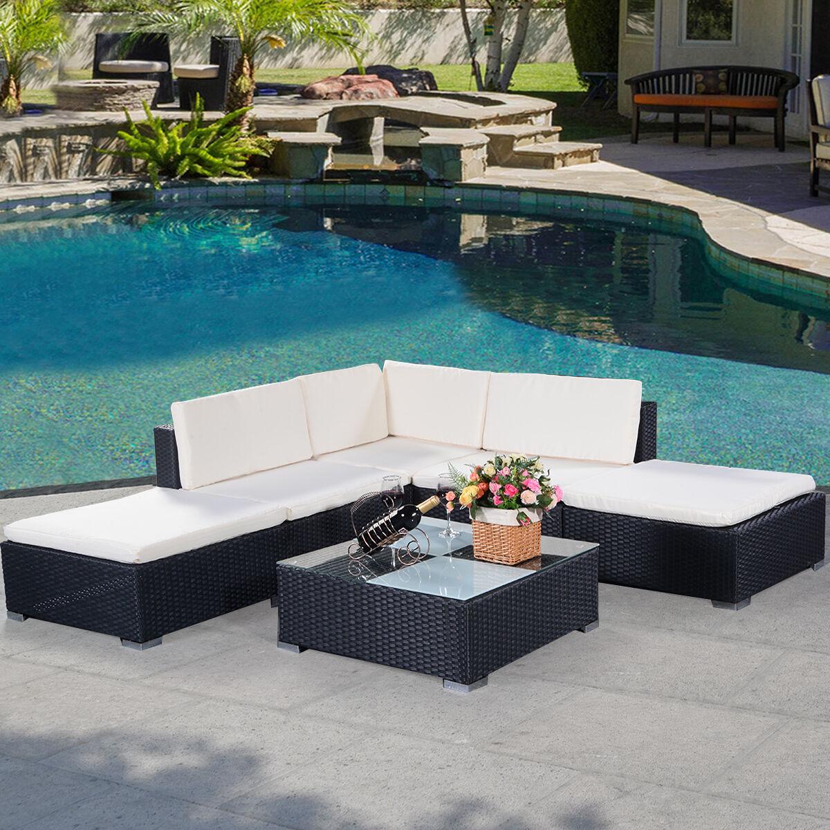 Garden Furniture - 6PC Rattan Outdoor Garden Furniture Patio Corner Sofa Set PE Wicker Steel Fram