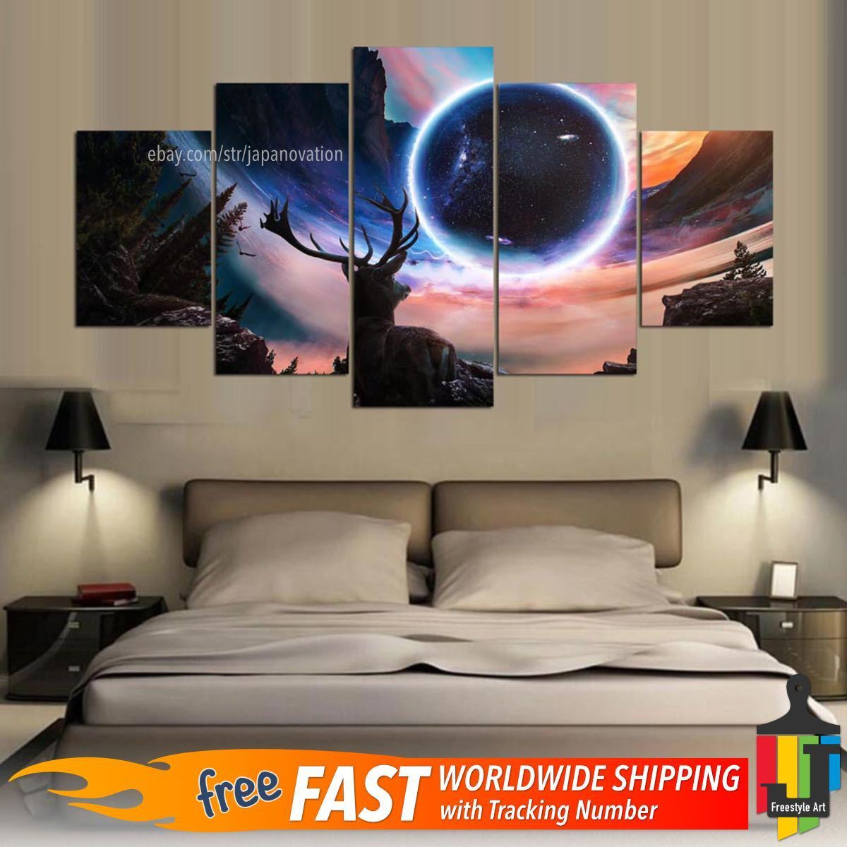 5 Piece Home Decor Canvas Print Wall Art Abstract Full Moon Deer Planet Painting
